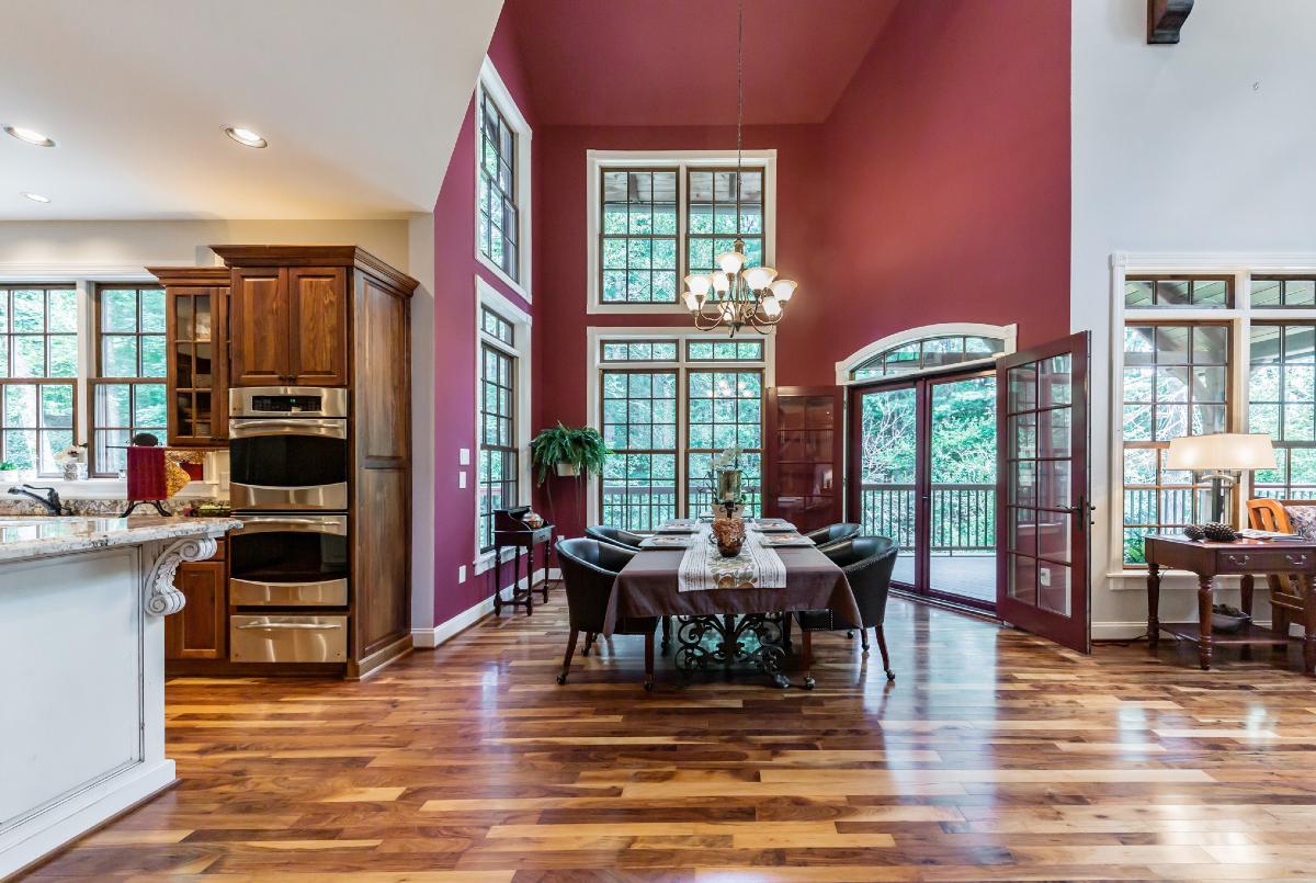 Open plan living room with wood floor